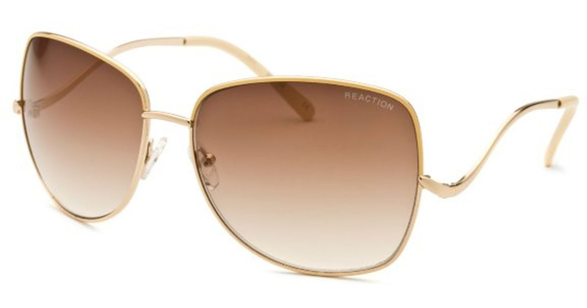 Kenneth Cole Reaction Aviator Sunglasses  kenneth cole reaction womens square gold sunglasses in metallic lyst