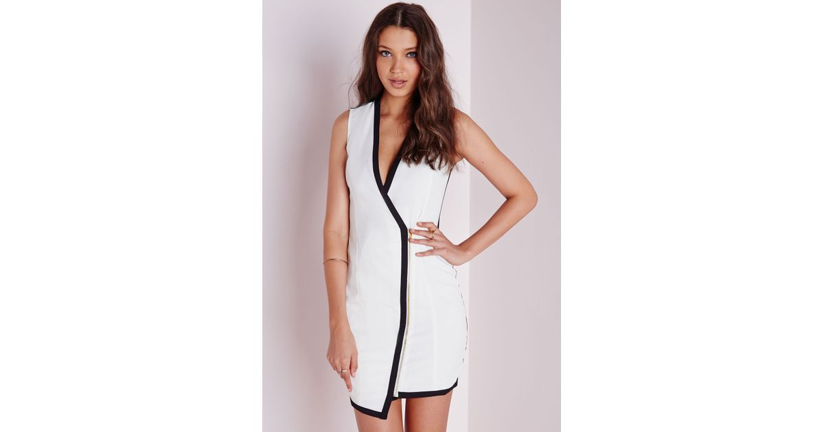 e6018e83a231b Lyst - Missguided Crepe Sleeveless Contrast Wrap Blazer Dress White in Black