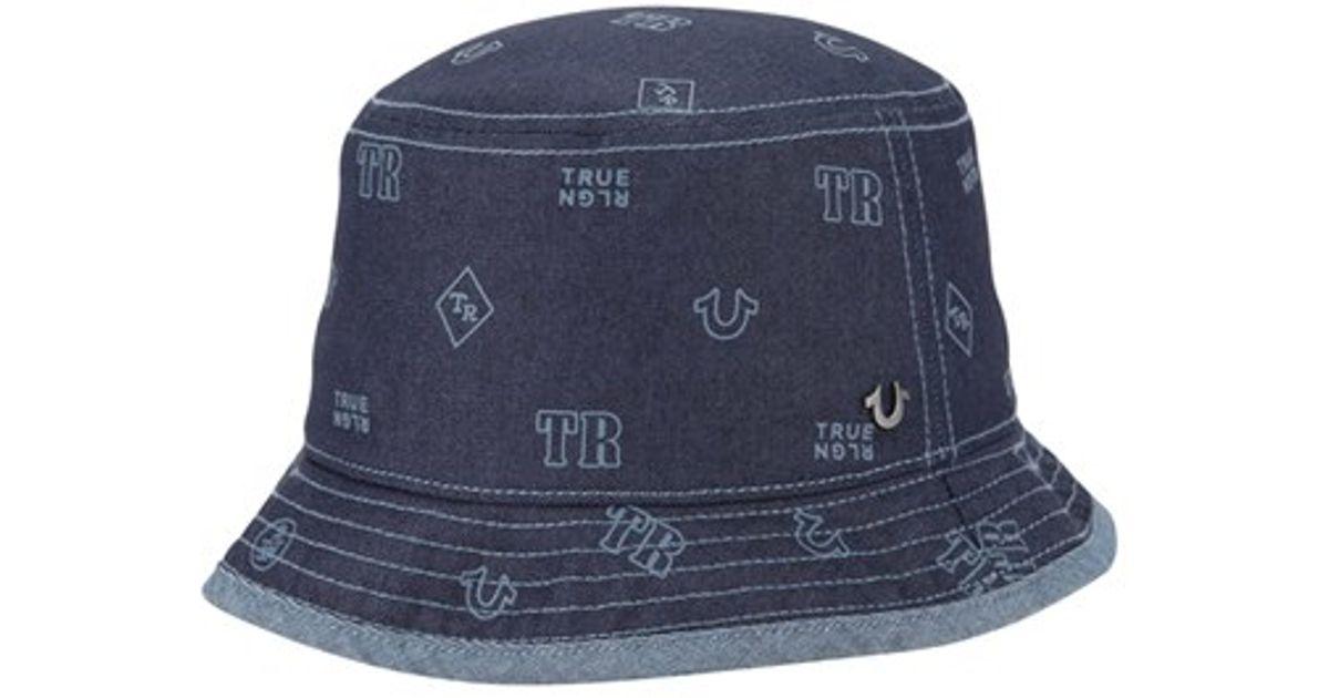 de39b14d993b2 True Religion  monogram  Denim Bucket Hat in Blue for Men - Lyst