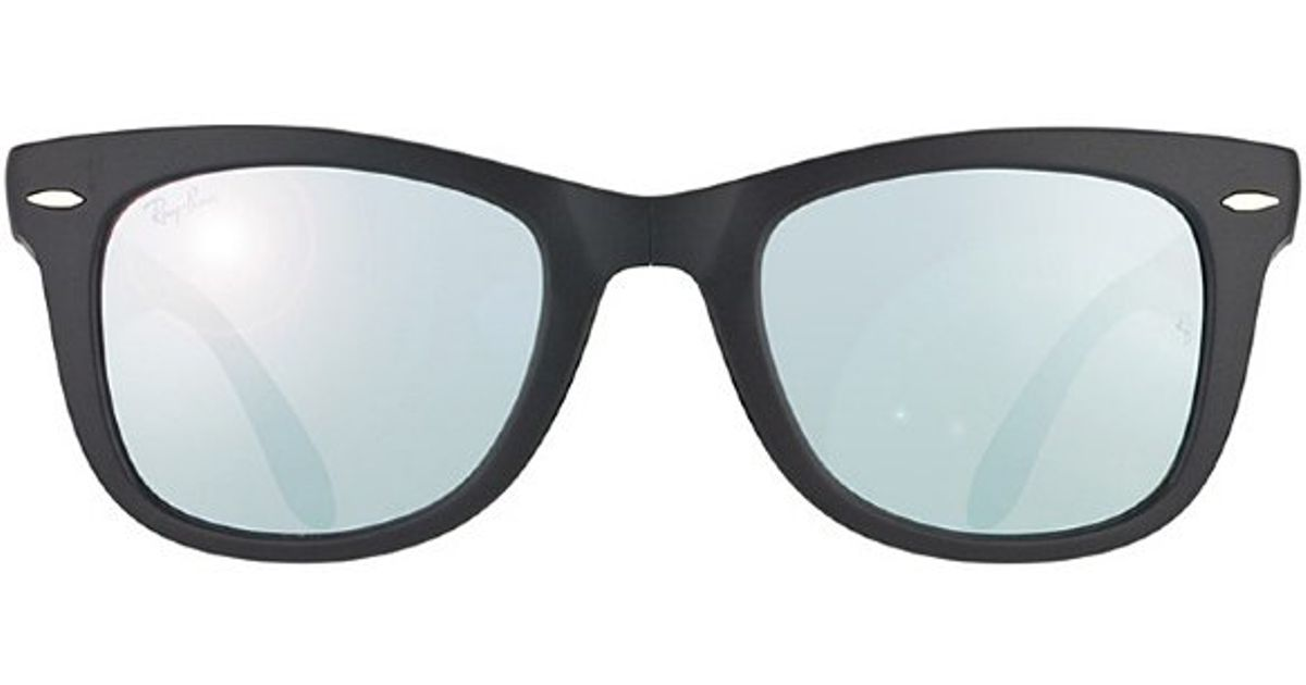 5e99720a40 ... black green gradient mirror 4413e 20e0a  shop lyst ray ban ray ban  rb4105 folding wayfarer 602230 matte grey plastic sunglasses mirror grey