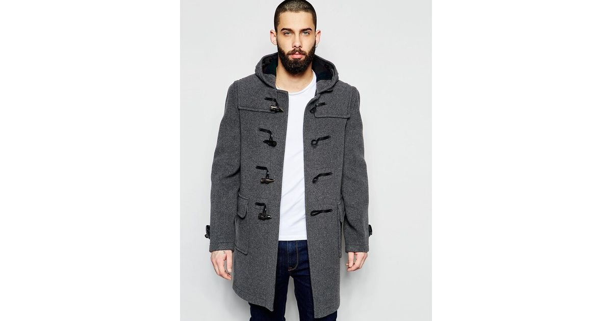 Gloverall Long Duffle Coat in Gray for Men | Lyst