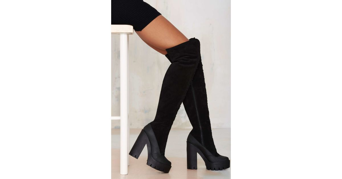 c8b7ab96a6c Lyst Nasty Gal Stiã¹ Eclisse Over The Knee Suede Boot In Black