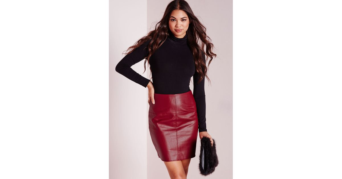 Missguided Faux Leather Mini Skirt Burgundy in Red | Lyst