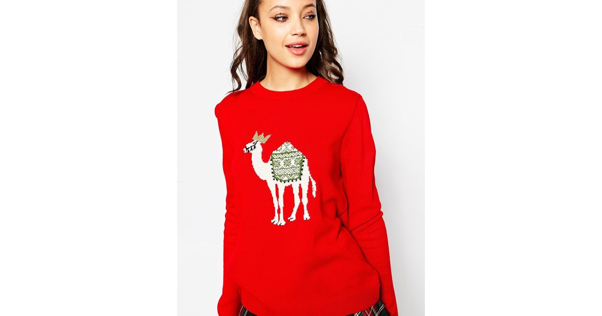 Lyst - Asos Fairisle Camel Christmas Jumper in Red
