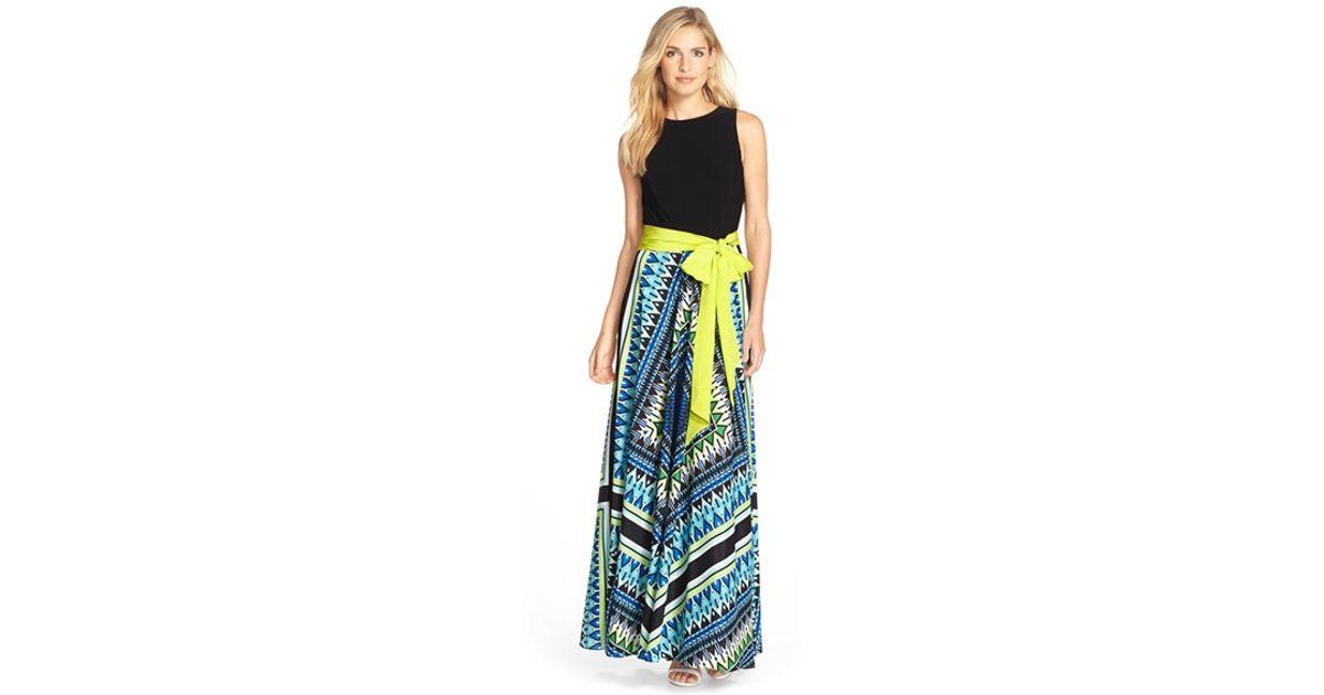 4770028318ffc Eliza J Multicolor Jersey & Crepe De Chine Maxi Dress