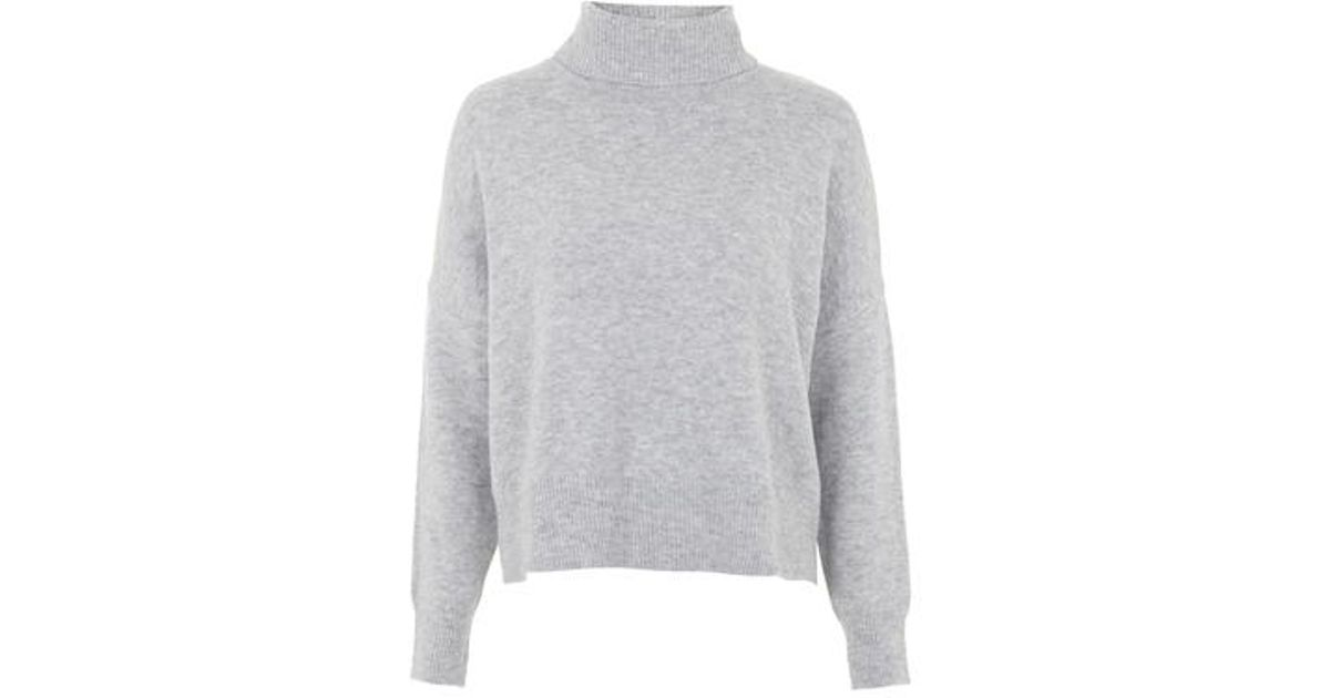 53a91bb92ee2 Lyst - TOPSHOP Zip Back Roll Neck Sweater in Gray