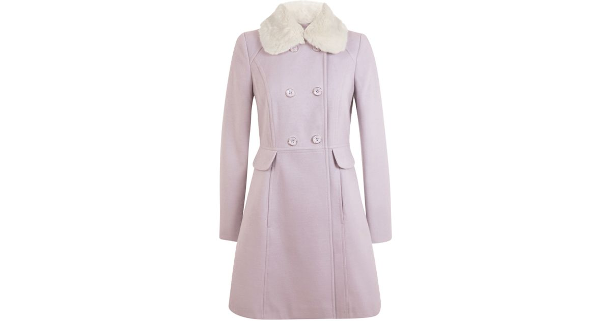 Miss Selfridge Faux Fur Trim Collar, Pink Faux Fur Coat Miss Selfridge