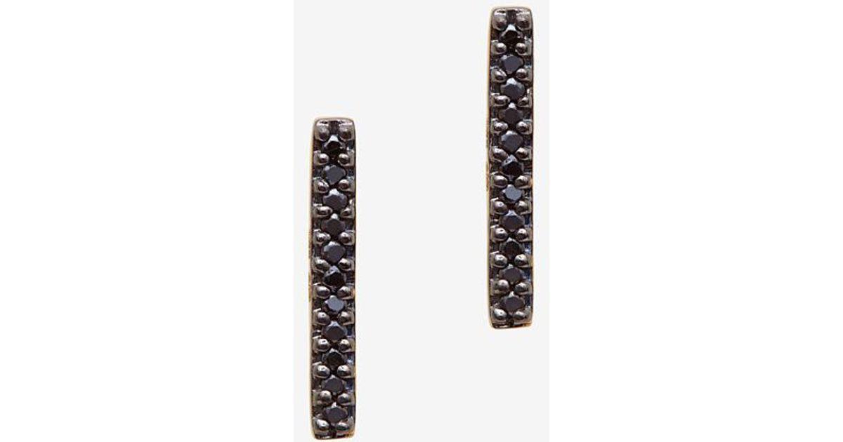 Adina Reyter Pave Black Diamond Bar Earring In Gold Metallic Lyst