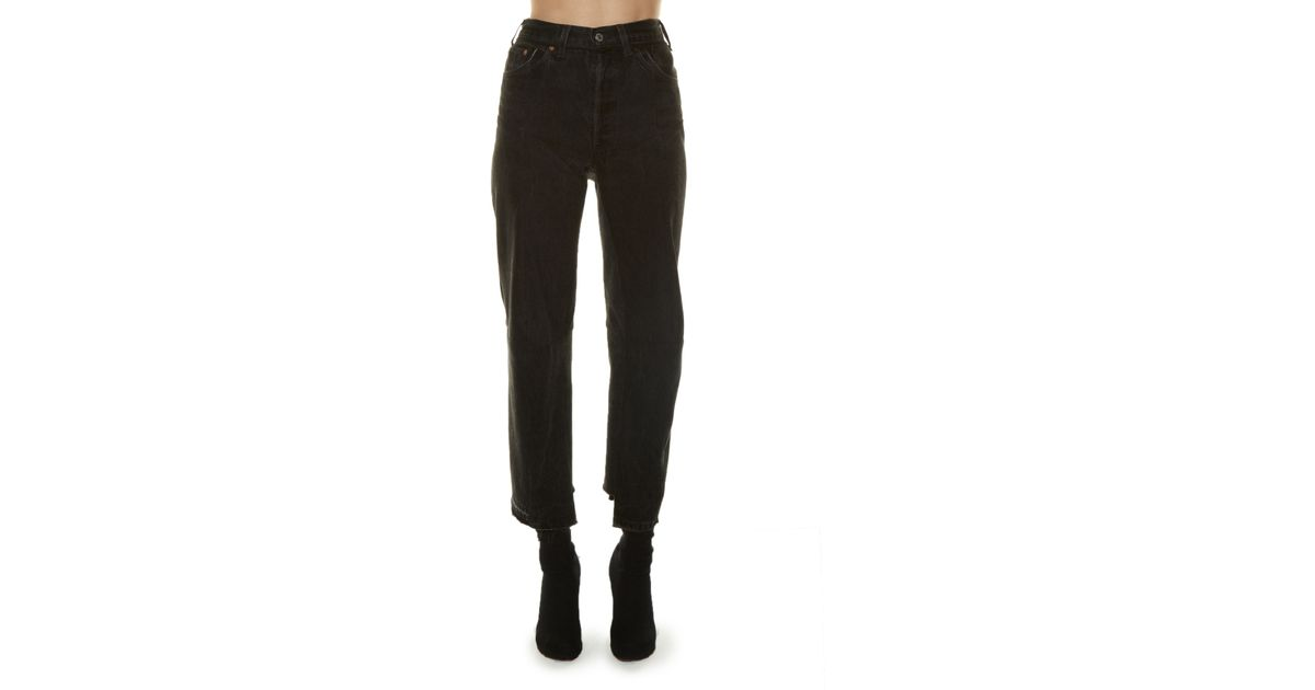 03458d687113 Lyst - Vetements High-rise Straight-leg Cropped Jeans in Black