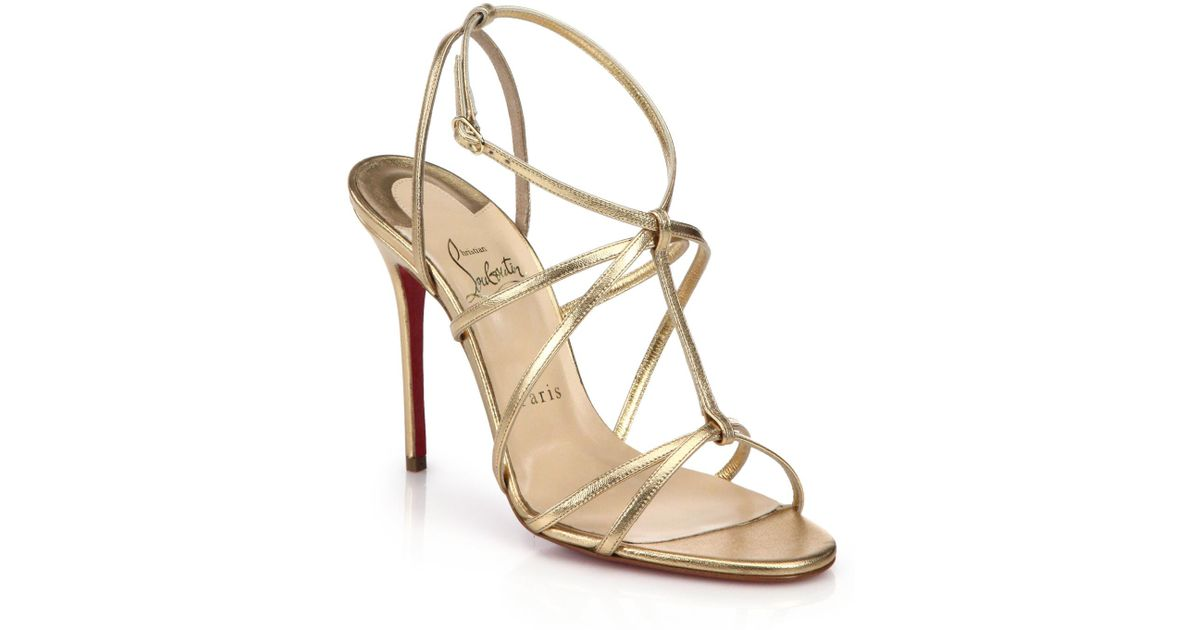 best cheap e7f4a 32429 Christian Louboutin Youpiyou Metallic Leather Sandals