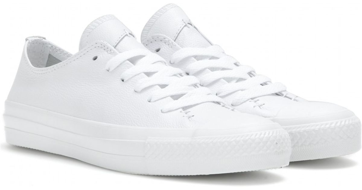 8ae6ca0b101 Lyst - Converse Chuck Taylor All Star Low Leather Sneakers in White