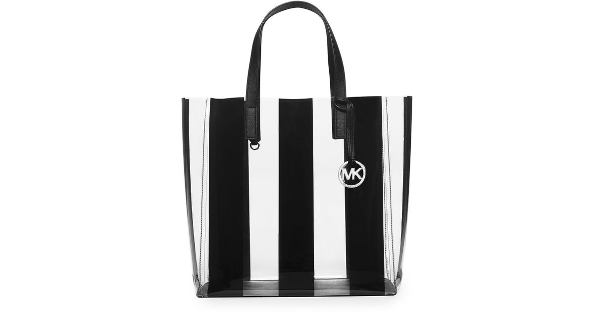 3949410f4f0c ... wholesale lyst michael michael kors eliza large striped plastic tote bag  in black a5b0c 96303