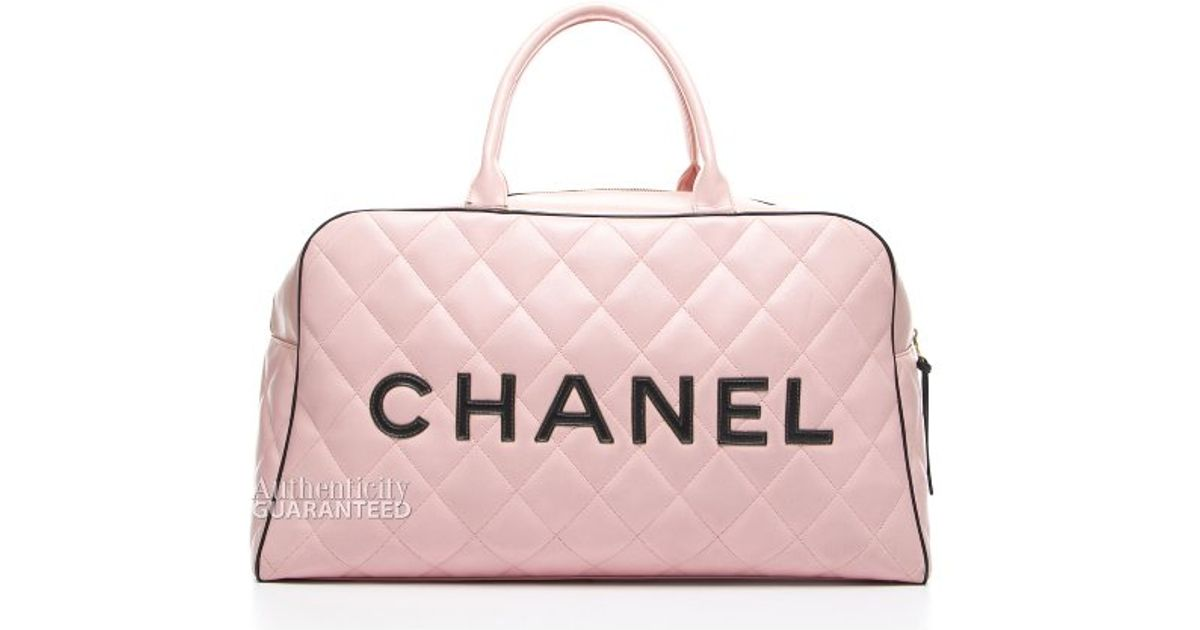 Chanel Preowned Pink Quilted Lambskin Xl Bowler Bag in Pink | Lyst