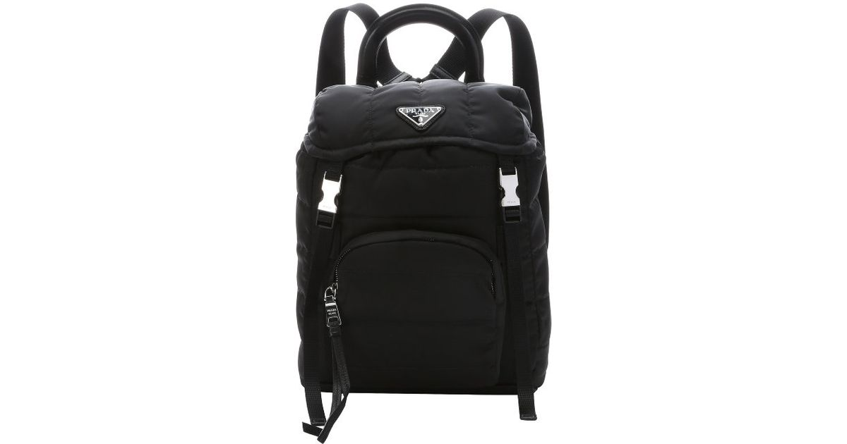 c16fb6ad0f27 ... promo code for lyst prada black quilted tessuto nylon small backpack in  black 130d4 9f66a