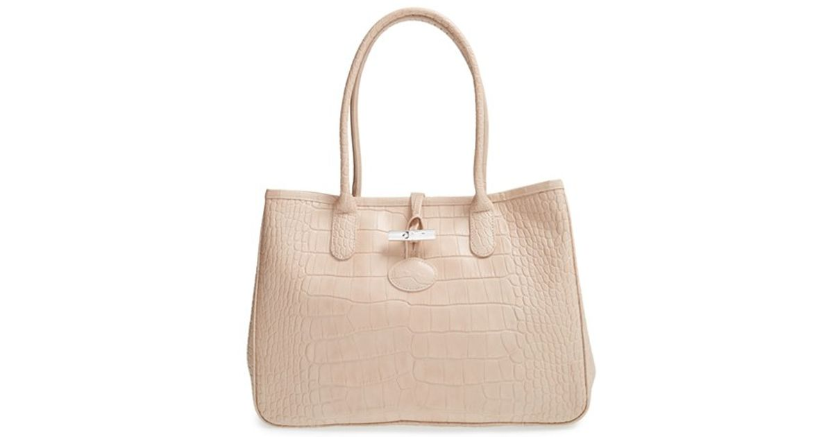 Longchamp Pink 'roseau Croco' Shoulder Tote