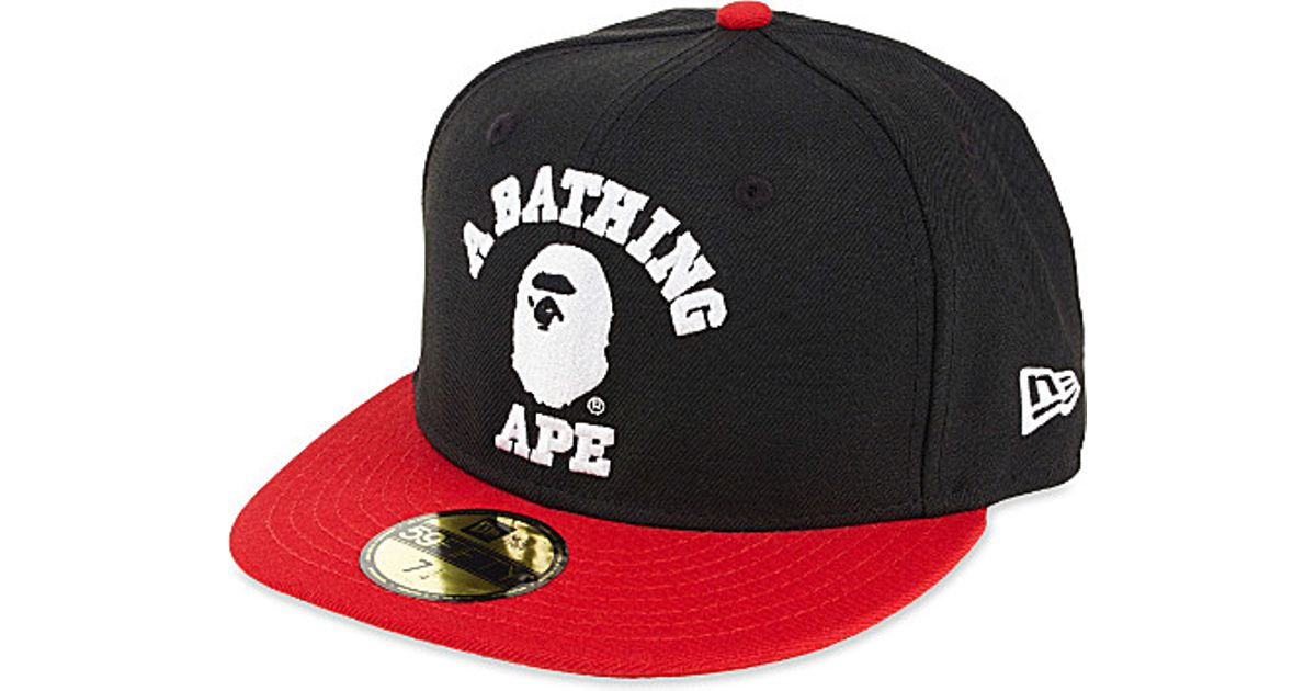 Lyst - A Bathing Ape Bathing Ape Fitted Cap in Red for Men 26e34217ced