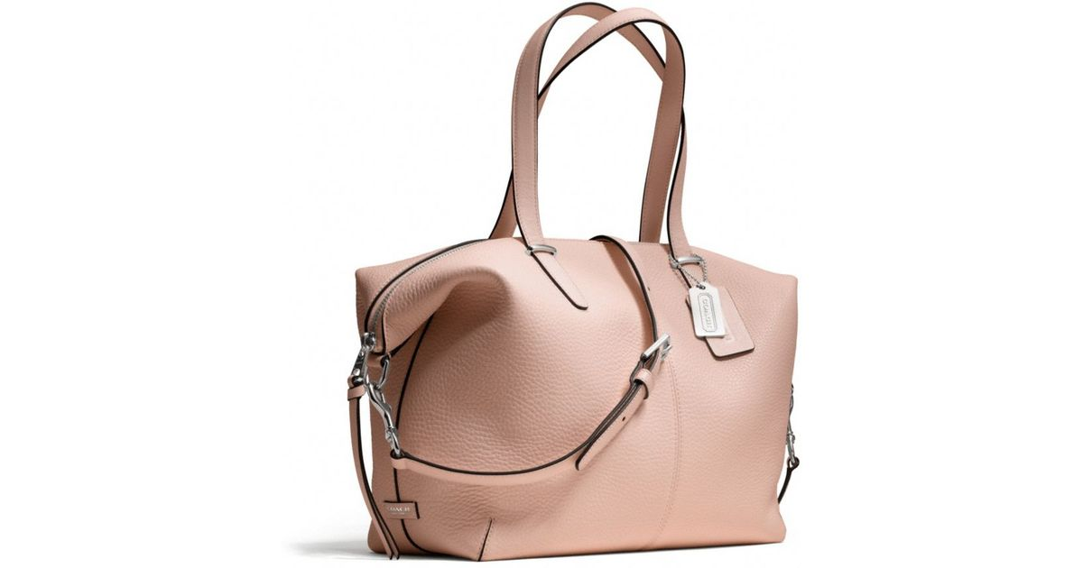 275eb6df14976 germany lyst coach bleecker cooper satchel in pebbled leather in pink ce8a4  cb866