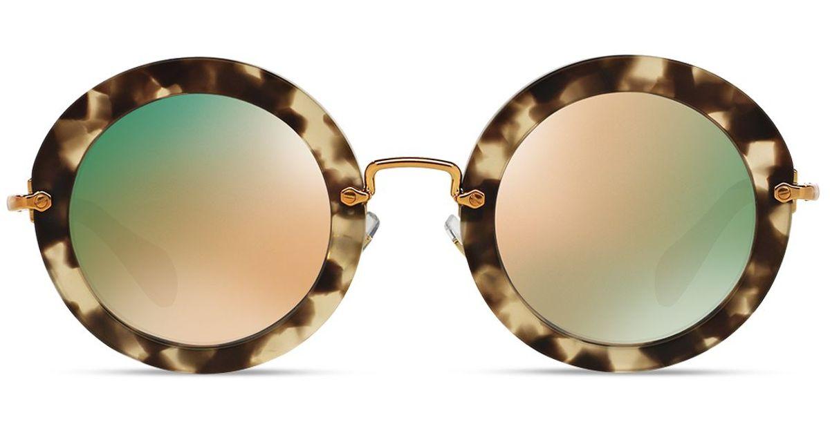 f7160a5b4a7 Lyst - Miu Miu Noir Round Sunglasses in Natural