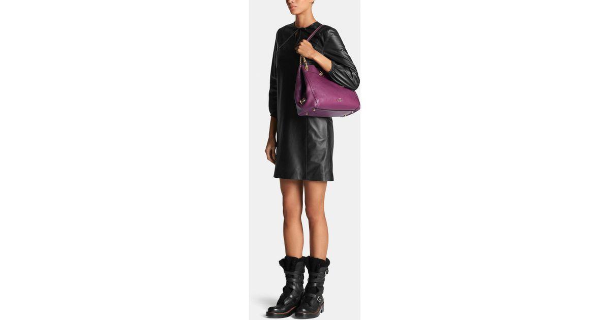 03324036854 Lyst - COACH Turnlock Edie Shoulder Bag In Pebble Leather in Purple
