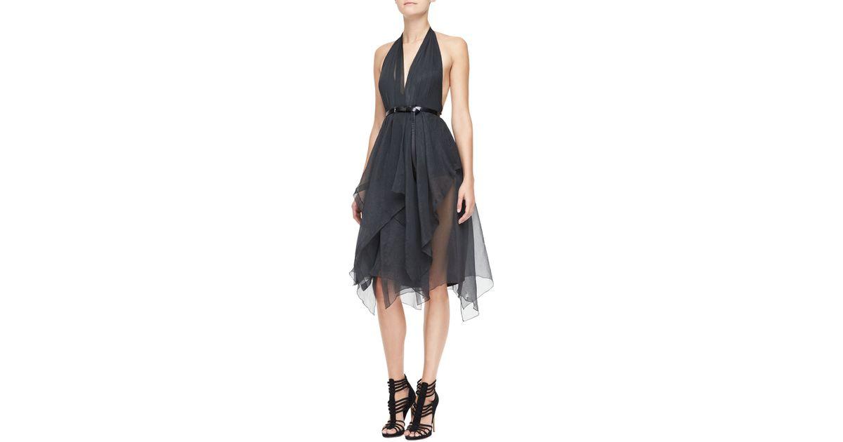 Donna Karan Belted Halter Cocktail Dress In Gray