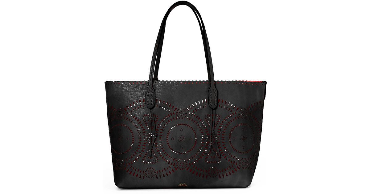 9c2f4f8d2f Lyst - Polo Ralph Lauren Laser-cut Leather Tote in Black