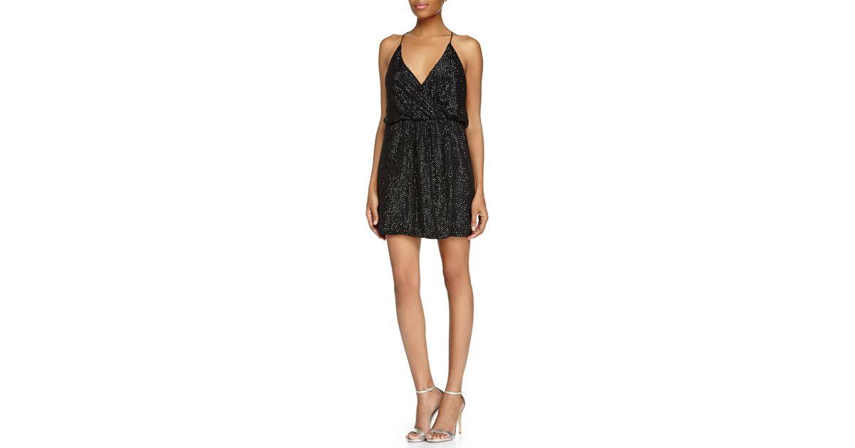 Parker Black Beaded Halter Cocktail Dress In Black