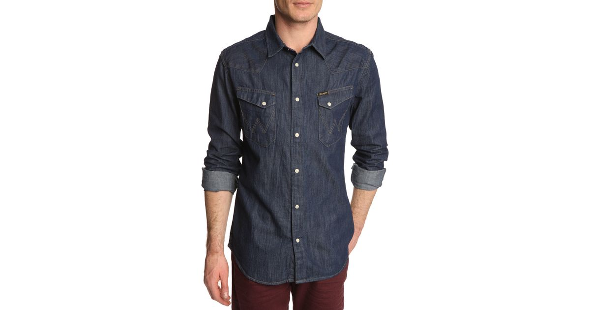 wrangler western dark blue denim shirt in blue for men lyst