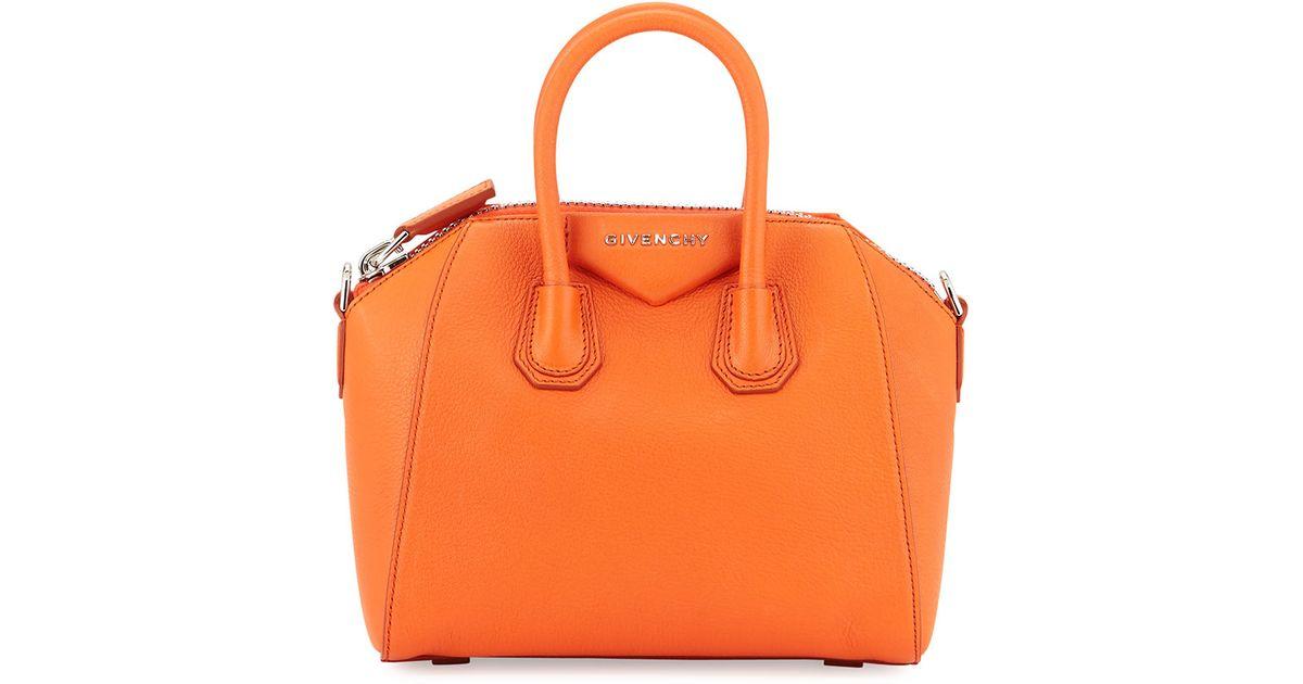 219bfdd7a4c5 Givenchy Antigona Mini Goatskin Satchel Bag in Orange - Lyst