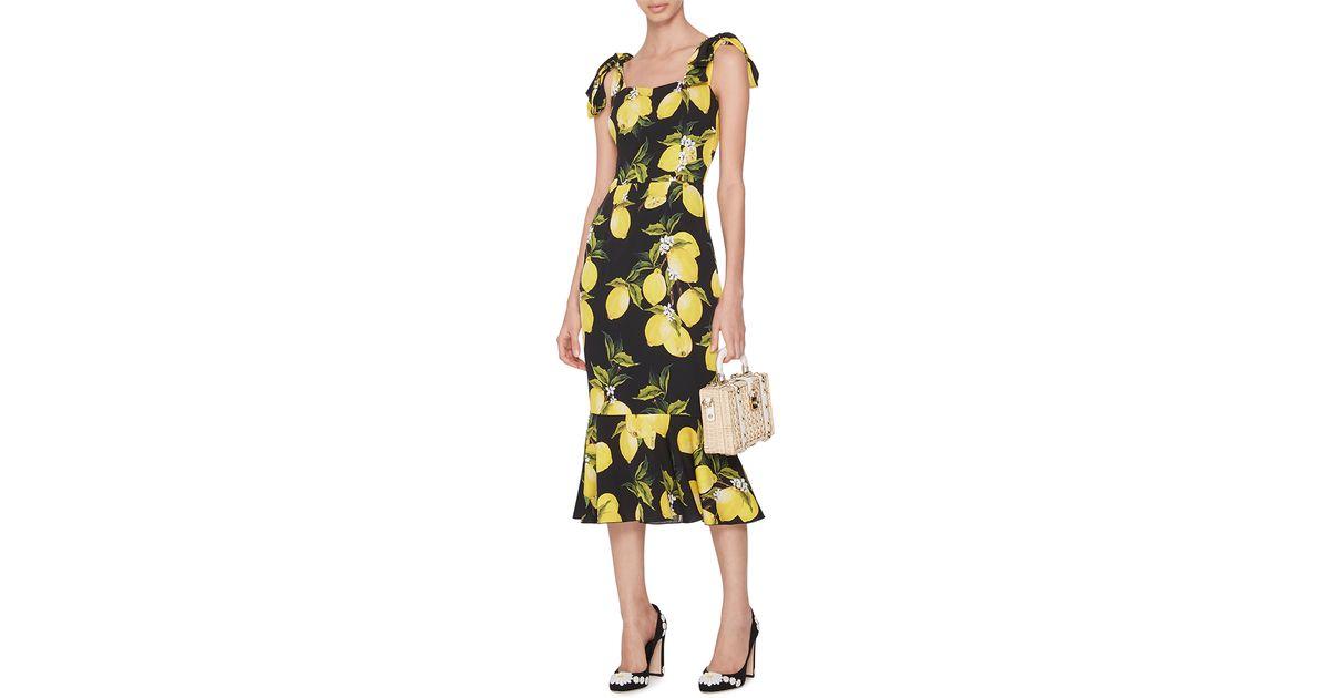Lyst - Dolce   Gabbana Sleeveless Lemon Flounce-hem Dress in Black 2599f0683530b
