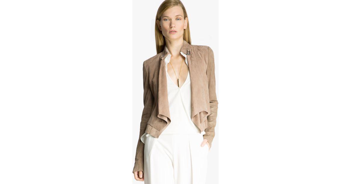 jacket jackets drapes drape suede muubaa draped cyan image alexis in