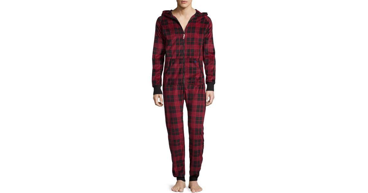 Lyst - Original Penguin Long-sleeve Flannel Onesie Pajamas ...