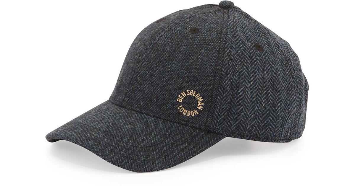 Lyst - Ben Sherman Herringbone Baseball Cap in Blue for Men 80632c86cb2