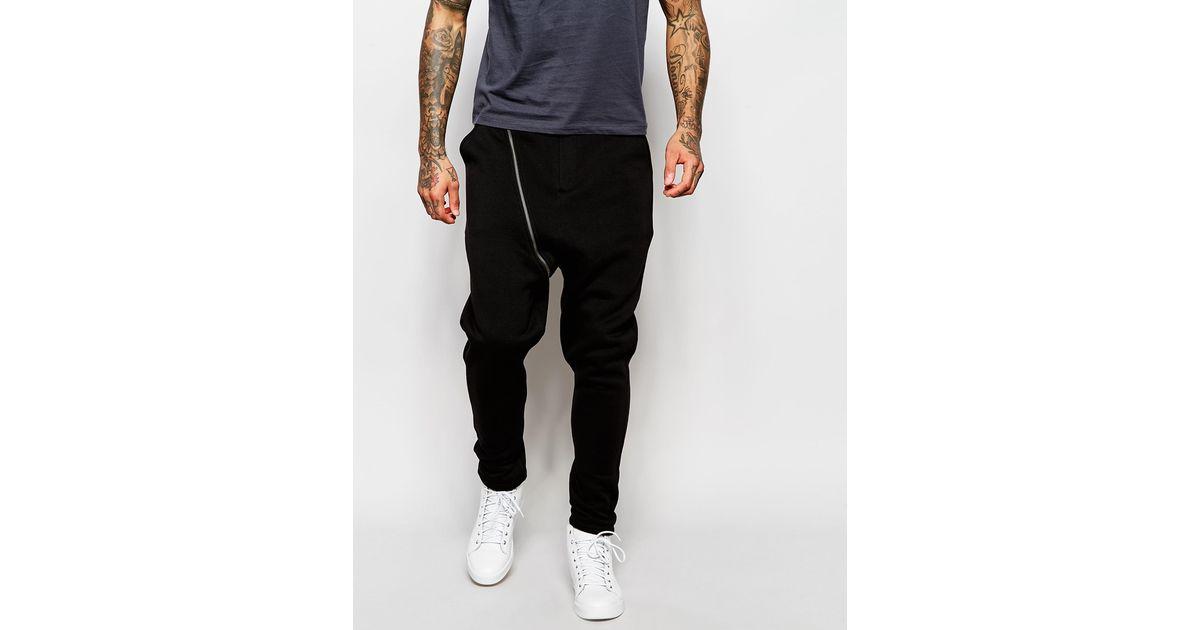 Unique Asos Drop Crotch Joggers With Biker Zip Detail In Black For Men - Save 52% | Lyst