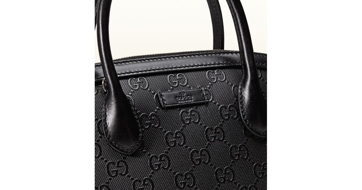 73d1b409d10 Lyst - Gucci Bright Diamante Gg Leather Top Handle Bag in Black
