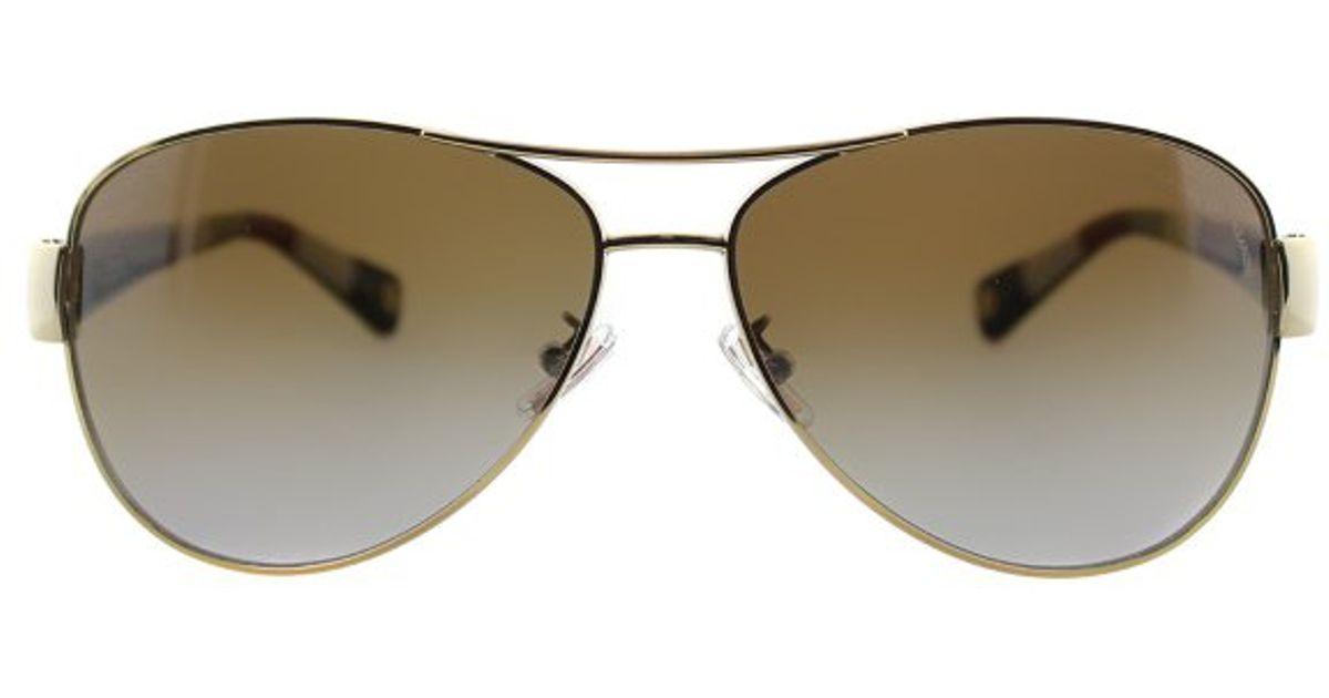d214709eb8e4 Lyst - Coach Kristina L012 Hc 7003 9013t5 Gold Aviator Metal Sunglasses in  Natural