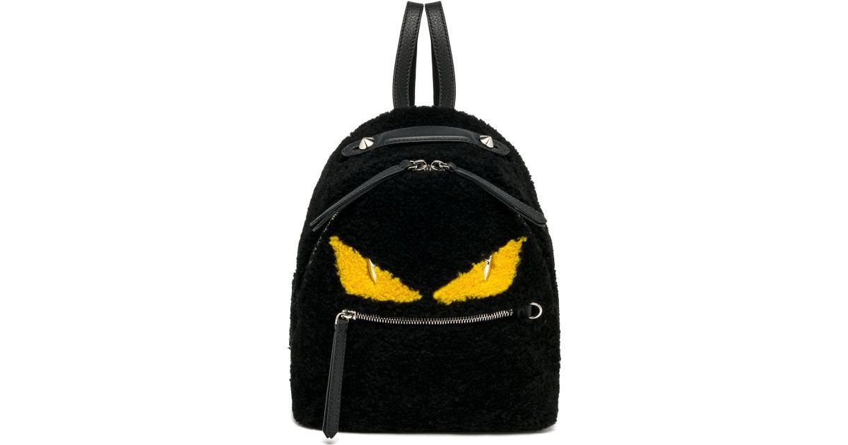 Lyst - Fendi Monster Mini Shearling Backpack in Black 4384b348134c9