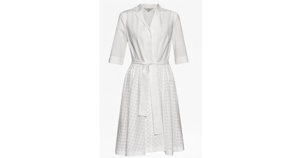 ec7f35ac960 French Connection Geo Flora Cotton Shirt Dress in White - Lyst
