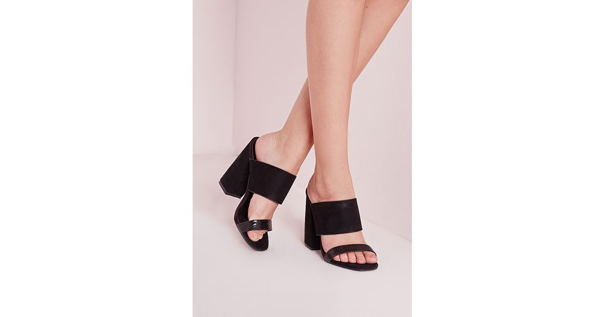 0f598a3fc7a Lyst - Missguided Double Strap Block Heel Mules Black in Black