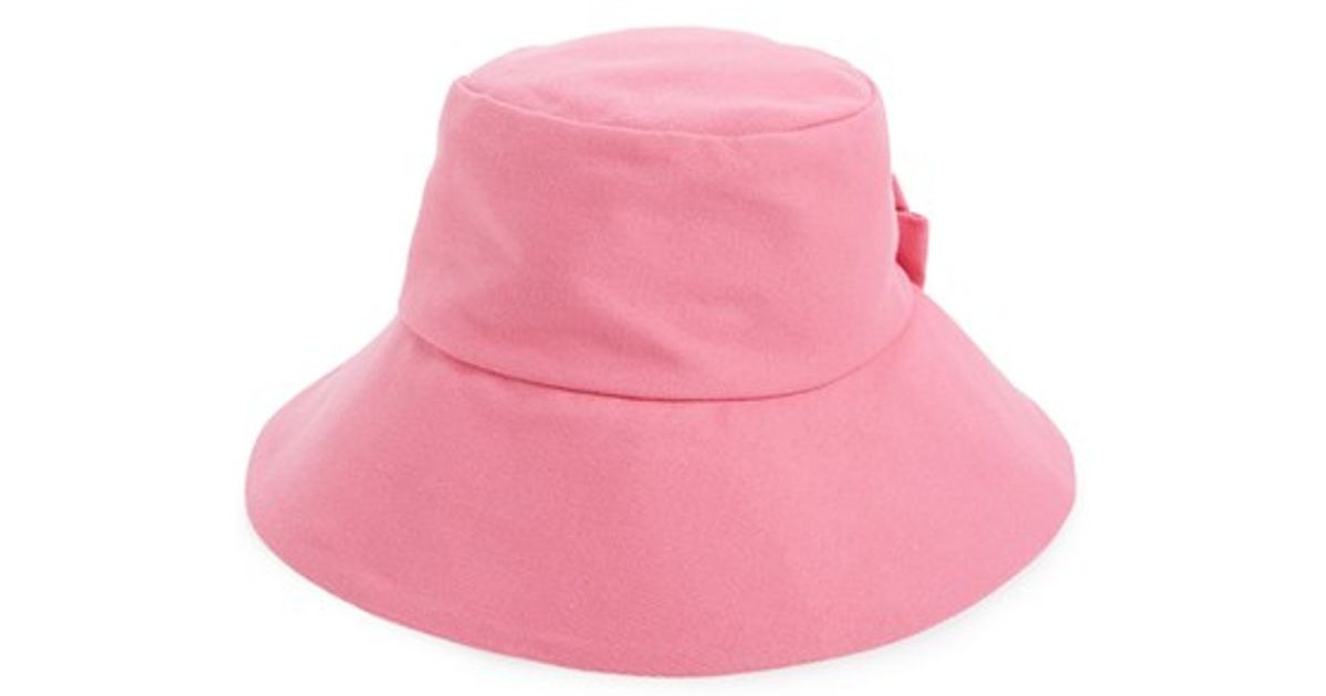 9fb0be5d999bc Lyst - Kate Spade Bow Split Back Bucket Hat in Pink