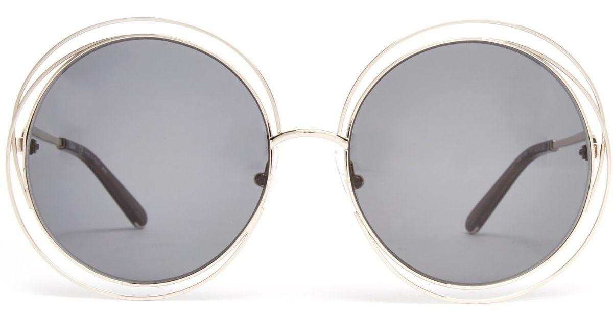39bc74501559 Lyst - Chloé Carlina Round-framed Sunglasses in Metallic