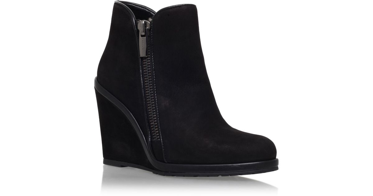 vince camuto jeffers wedge heel ankle boots in black lyst