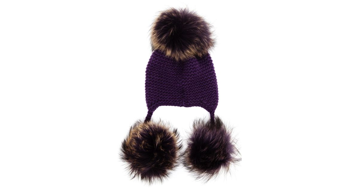 410f7fc9863 Inverni Cashmere Beanie with Fox Fur Pom Pom in Purple - Lyst