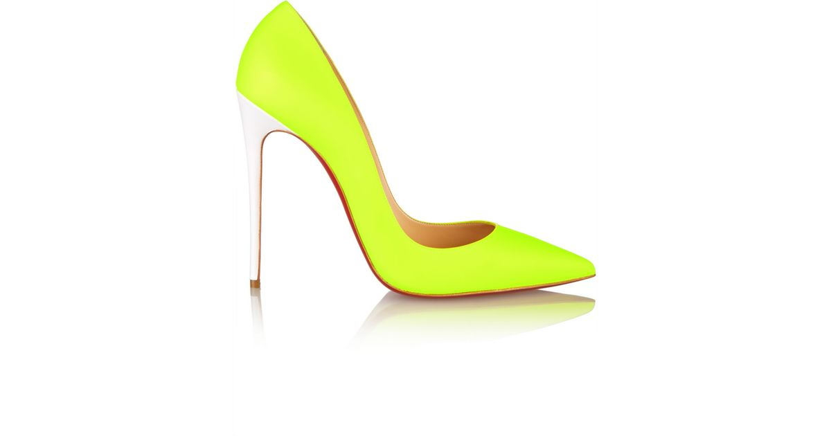 newest ecaf1 d8ef5 Christian Louboutin Yellow So Kate 120 Neon Leather Pumps