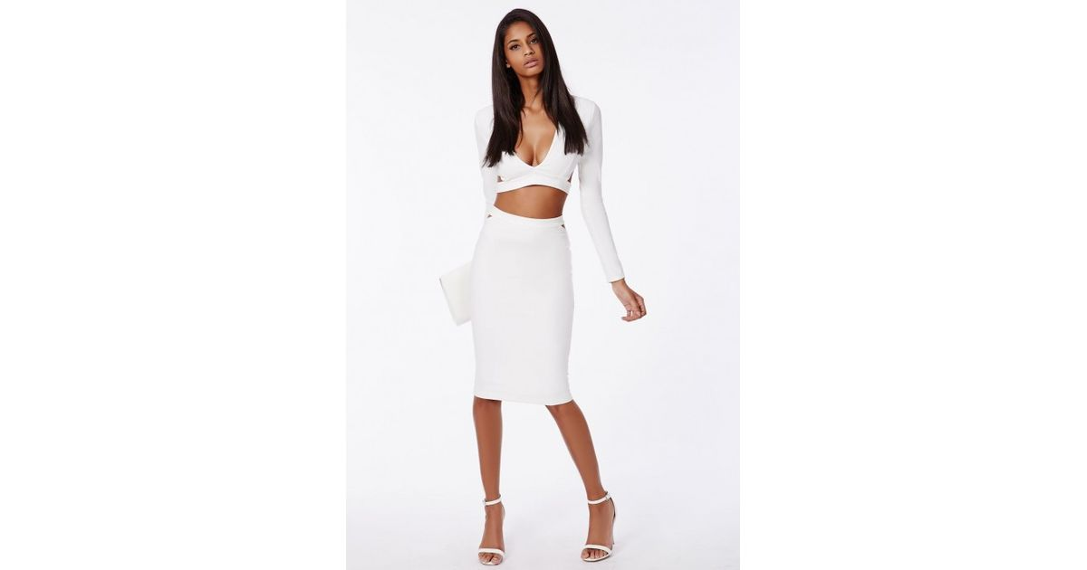 bf88a799f3972 Lyst - Missguided Plunge Neck Crop Top White in White