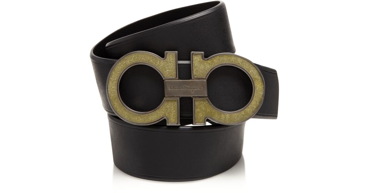 637ba971094 Lyst - Ferragamo Graphite And Diamond Dust Gancini Belt in Black for Men