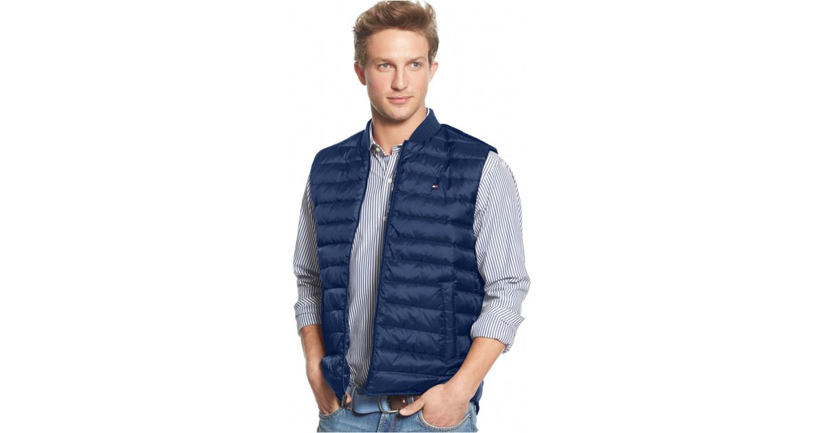Lyst - Tommy hilfiger Castelli Quilted Zipper Vest in Blue for Men : tommy hilfiger quilted vest - Adamdwight.com
