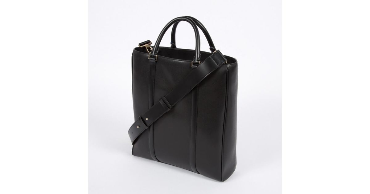 Lyst Paul Smith Men S Black City Embossed Leather Tote Bag In For