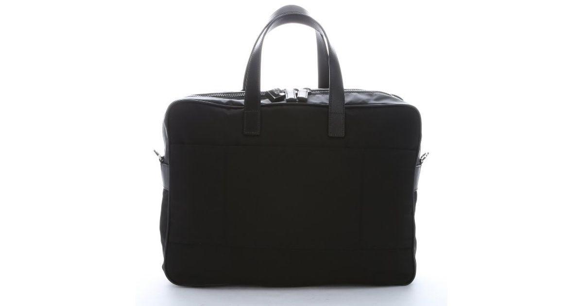 prada saffiano clutch wallet - Prada Black Nylon And Leather \u0026#39;Viaggio\u0026#39; Laptop Briefcase Bag in ...
