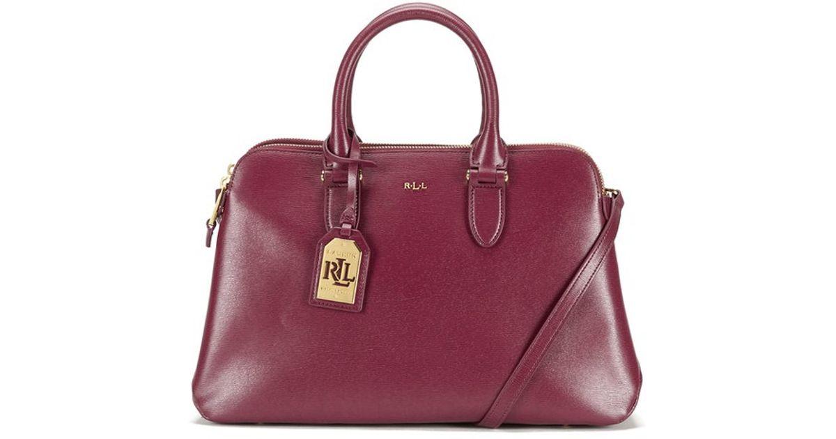 Lauren by Ralph Lauren Women s Newbury Double Zip Dome Tote Bag in Purple -  Lyst e192dea71d