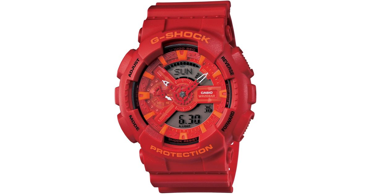 bf90cbbe6215 Lyst - G-Shock Men s Analog-digital Red Resin Strap Watch 51x55mm  Ga110ac-4a in Red for Men